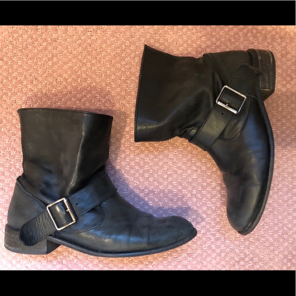 Shoes | Womens Black Moto Booties Size